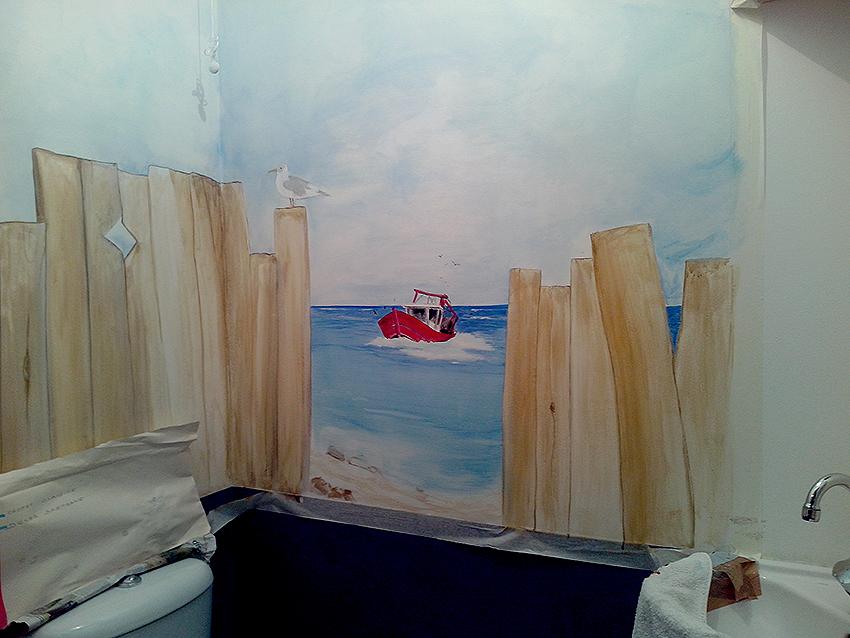 Décor peint mural salle de bain