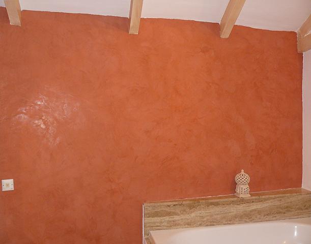 Décor patine stuc à la chaux orange