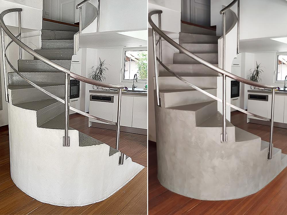 Escalier colimacon béton ciré avant et après
